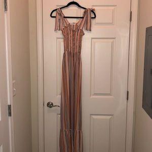 Multi color striped maxi dress